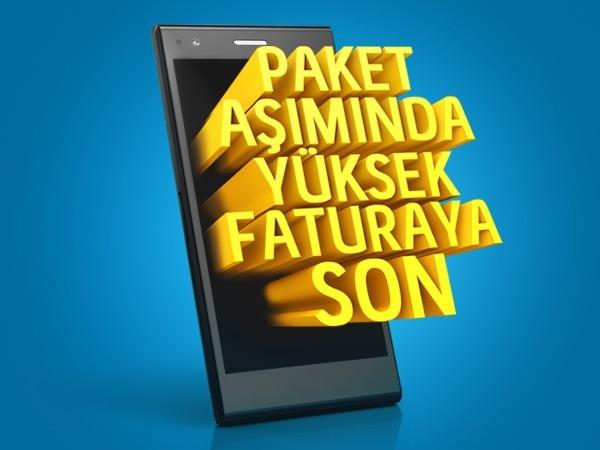 Turkcell paket aşım kampanyası ile tarifenizdeki dakikalar bittiğinde 30 dk'si 3 TL'ye avantajlı bir şekilde konuşturmaya devam ediyor.