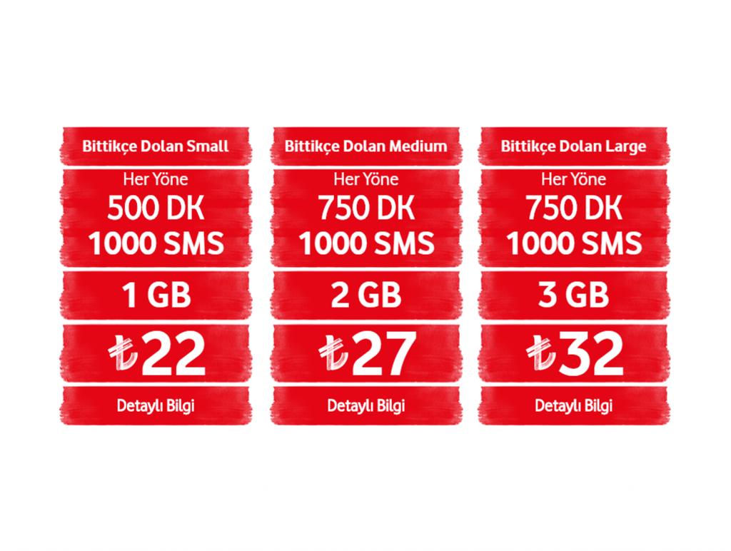 Vodafone bittikce dolan tarifeler